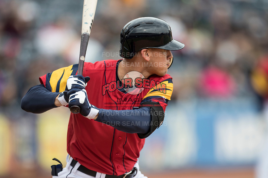 Toledo Mud Hens outfielder Jacoby Jones (4) at bat against the Lehigh Valley IronPigs during the International League baseball game on April 30, 2017 at Fifth Third Field in Toledo, Ohio. Toledo defeated Lehigh Valley 6-4. (Andrew Woolley/Four Seam Images)