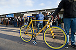AFC Wimbledon 4 Portsmouth 0, 16/11/2013. Kingsmeadow, League Two. Wimbledon and Portsmouth have had turbulent histories and both supporter-owned clubs are now in League Two. A bespoke AFC Wimbledon branded fixie bike.  Photo by Simon Gill.