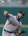 Salt Lake's Matt Shoemaker pitches against the Reno Aces in a minor league baseball game in Reno, Nev., on Sunday, Aug. 25, 2013. The Salt Lake Bees won 9-1. <br /> Photo by Cathleen Allison