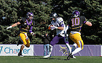 MANKATO, MN - NOVEMBER 1:  Garrett Shutt #24 for the University of Sioux Falls hauls in a touchdown pass between Nathan Hancock #4 and Cory Brent #10 from Minnesota State Mankato in the first quarter Saturday afternoon at Blakeslee Stadium in Mankato. (Photo by Dave Eggen/Inertia)
