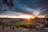 Sunset and clouds over Anderson Field, Jan. 31, 2014. (Photo by Marc Campos, Occidental College Photographer)