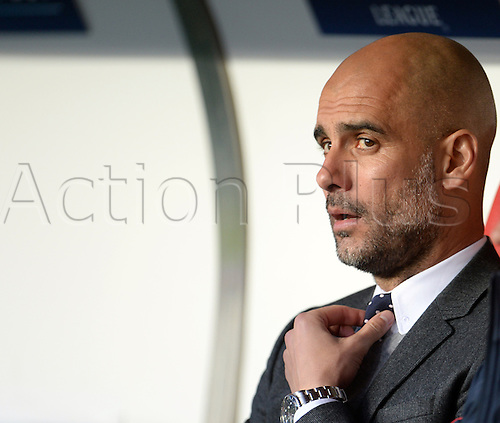 13.04.2016. Lisbon, Portugal.  Munich's coach Josep Pep Guardiola sits on the bench prior to the UEFA Champions League quarterfinal second leg soccer match between SL Benfica and FC Bayern Munich at Luz Stadium in Lisbon, Portugal, 13 April 2016.