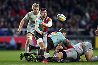 Danny Care of Harlequins passes the ball. Aviva Premiership match, between Harlequins and Saracens on December 3, 2017 at the Twickenham Stoop in London, England. Photo by: Patrick Khachfe / JMP