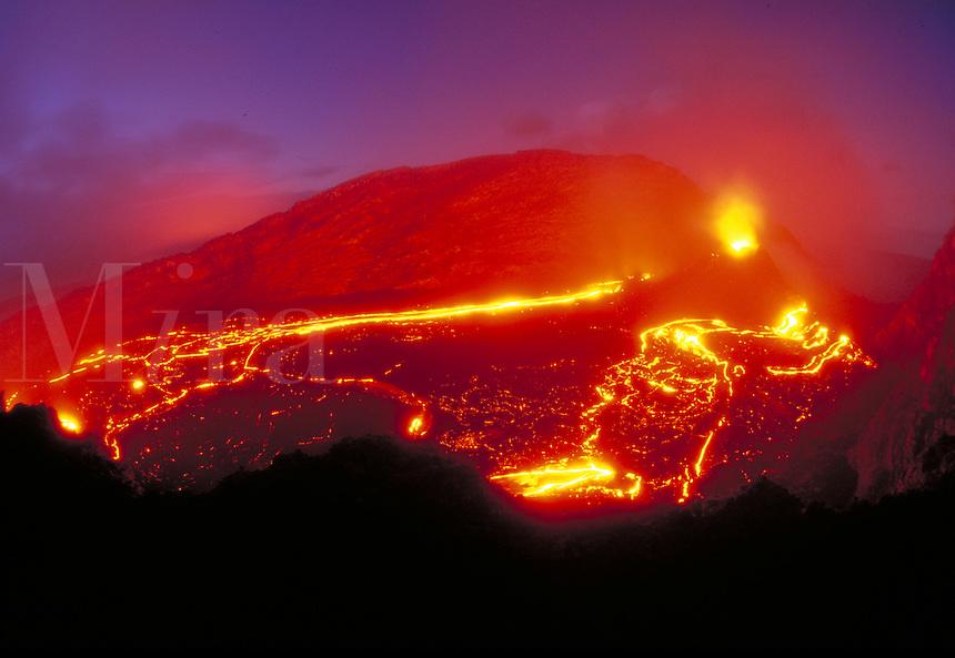Kilauea Volcano - eruption and lava flow inside Pu'u o'o vent. Hawaii, Volcanoes National Park.