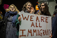 NEW YORK, NY - JANUARY 28: Protestors rally during a demonstration against the Muslim immigration ban at John F. Kennedy International Airport on January 28, 2017 in New York City. President Trump signed an executive order to suspend refugee arrivals and people with valid visa from Iran, Iraq, Libya, Somalia, Sudan, Syria and Yemen. Photo by VIEWpress/Maite H. Mateo.