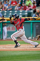 Eury Perez (54) of the Sacramento River Cats bats against the Salt Lake Bees at Smith's Ballpark on May 17, 2018 in Salt Lake City, Utah. Salt Lake defeated Sacramento 12-11. (Stephen Smith/Four Seam Images)