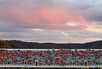 Colorful skies over the fans during and NCAA football game at Scott Stadium in Charlottesville, VA. Clemson defeated Virginia 59-10. Photo/Andrew Shurtleff