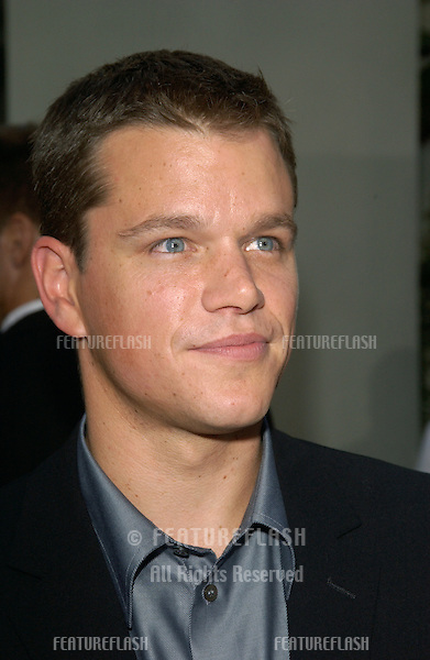 Actor MATT DAMON at the world premiere, in Hollywood, of his new movie The Bourne Supremacy..July 15, 2004