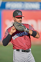 Aramis Garcia (49) of the Sacramento River Cats before the game against the Salt Lake Bees at Smith's Ballpark on July 18, 2019 in Salt Lake City, Utah. The Bees defeated the River Cats 9-6. (Stephen Smith/Four Seam Images)