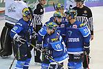 Brett Olson (Nr.16, ERC Ingolstadt), Ville Koistinen (Nr.10, ERC Ingolstadt), Tim Stapleton (Nr.19, ERC Ingolstadt), Thomas Greilinger (Nr.39, ERC Ingolstadt), John Laliberte (Nr.15, ERC Ingolstadt) beim Spiel in der DEL, ERC Ingolstadt (blau) - Nuernberg Ice Tigers (weiss).<br /> <br /> Foto &copy; PIX-Sportfotos *** Foto ist honorarpflichtig! *** Auf Anfrage in hoeherer Qualitaet/Aufloesung. Belegexemplar erbeten. Veroeffentlichung ausschliesslich fuer journalistisch-publizistische Zwecke. For editorial use only.