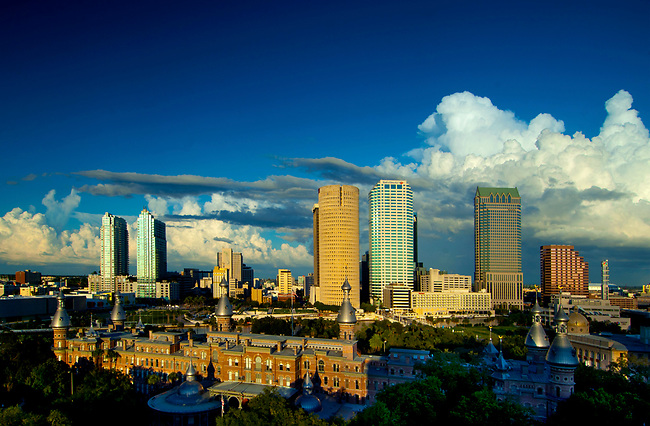 Skyline of Tampa, Florida and the University of Tampa in the foreground.