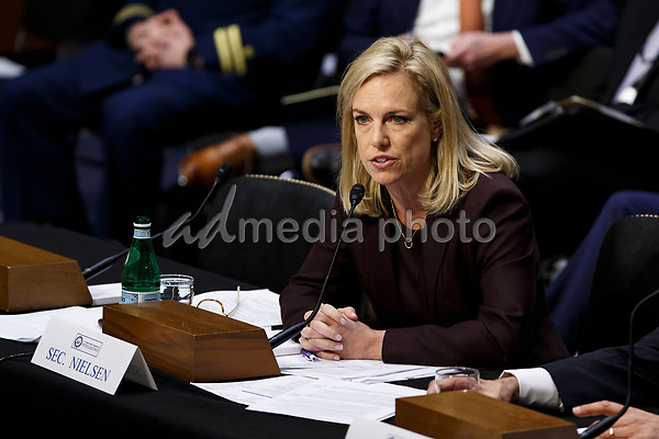 Secretary of Homeland security Kirstjen Nielsen testifies during a United States Senate Intelligence Committee hearing regarding election security on Capitol Hill in Washington, D.C. on March 21, 2018. Photo Credit: Alex Edelman/CNP/AdMedia