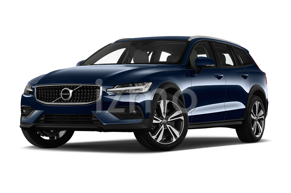 Stock pictures of low aggressive front three quarter view of 2019 Volvo V60-Crosscountry - 5 Door Wagon Low Aggressive