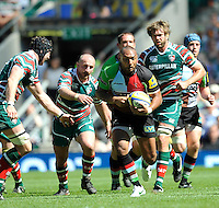 Aviva Premiership Final .Twickenham, England. Jordan Turner-Hall of Harlequins charges forward during the AVIVA Premiership Final between Harlequins and Leicester Tigers at Twickenham Stadium on May 26, 2012 in London, United Kingdom.