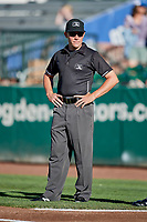 Base umpire Bobby Tassone before the game between the Ogden Raptors and the Grand Junction Rockies at Lindquist Field on June 25, 2018 in Ogden, Utah. The Raptors defeated the Rockies 5-3. (Stephen Smith/Four Seam Images)