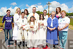 CELEBREANT: Fr Pat Crean- Lynch with his mass servers and members of the choir who helped out at the Corpus Christi procession from St Brendan's Church Cloghers, Ballymacelligott to Cloghers Graveyard Mass Alter on Sunday. Front l-r: Shane and Rachel Godley and Claire Kenny. Back were, Martina O'Connor, Ellen Lynch, Caroline O'Connell, Fr Pat Crean-Lynch, Michelle Broderick, Orla Keane, Sr Bernardine Broderick and June Fitzgerald.  ...................................... ....