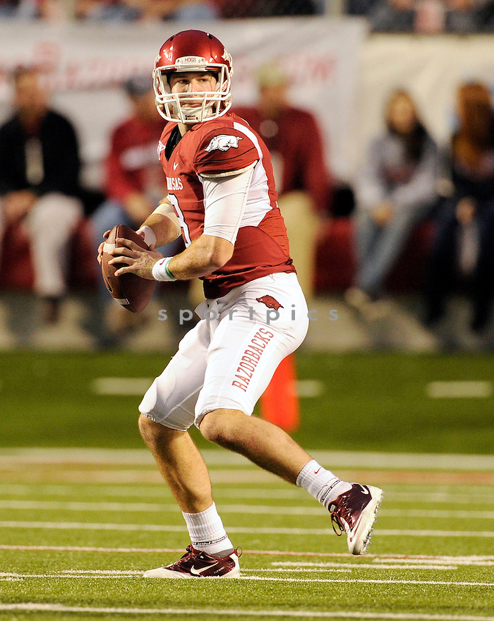 Arkansas Razorbacks Tyler Wilson (8) in action during a game against Alabama on September 25, 2010 at Razorback Stadium in Fayetteville, AR. Alabama beat Arkansas 24-20.