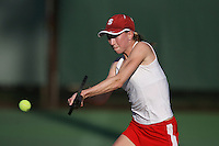 STANFORD, CA - JANUARY 30:  Carolyn McVeigh of the Stanford Cardinal during Stanford's 6-1 win over the Colorado Buffaloes in the ITA Indoor Qualifying on January 30, 2009 at the Taube Family Tennis Stadium in Stanford, California.