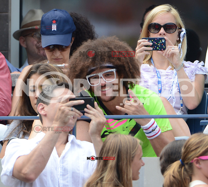 FLUSHING NY- SEPTEMBER 2: Redfoo is sighted at Andy Roddick Vs Fabio Fognini on Arthur Ashe stadium at the USTA Billie Jean King National Tennis Center on September 2, 2012 in in Flushing Queens. Credit: mpi04/MediaPunch Inc. ***NO NY NEWSPAPERS*** /NortePhoto.com<br />