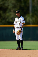 GCL Pirates shortstop Ji-Hwan Bae (2) during a game against the GCL Yankees West on August 2, 2018 at Pirate City Complex in Bradenton, Florida.  GCL Pirates defeated GCL Yankees West 6-2.  (Mike Janes/Four Seam Images)