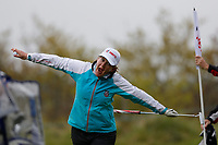 Celebration from Clare Balding during the Hero Pro-am at the Betfred British Masters, Hillside Golf Club, Lancashire, England. 08/05/2019.<br /> Picture David Kissman / Golffile.ie<br /> <br /> All photo usage must carry mandatory copyright credit (© Golffile | David Kissman)