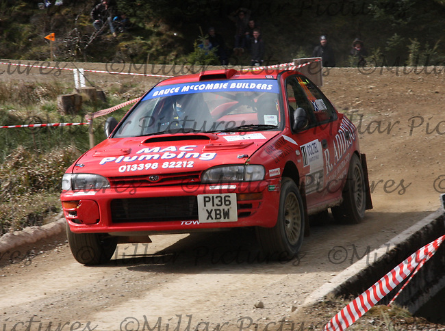 Bruce McCombie / Michael Coutts in a Subaru Impreza at Junction 3 on John Lawrie Group Special Stage 5 Fettersso 2 of the Coltel Granite City Rally 2012 which was based at the Thainstone Agricultural Centre, Inverurie.