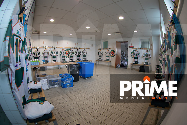 General view of the Ealing Trailfinders dressing room ahead of the British & Irish Cup Final match between Ealing Trailfinders and Leinster Rugby at Castle Bar, West Ealing, England  on 12 May 2018. Photo by David Horn / PRiME Media Images.