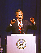 United States Vice President President George H.W. Bush addresses the B'nai B'rith Convention in Washington, DC on September 7, 1988. <br /> Credit: Ron Sachs / CNP