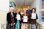 CERTIFIED:  Pictured at the certificate award ceremony in Kenmare Adult Education Centre are Centre Administrator Mary Sandy, Jillian Haines (student), Suzanne Smyth (student), Myfanwy Prost-Jones (student), Awards Presenter, Radio Kerry's Jerry O'Sullivan and Anna Czaplicka (student).