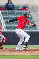 Tyler Williams (6) of the Kannapolis Intimidators follows through on his swing against the Greenville Drive at CMC-Northeast Stadium on April 6, 2014 in Kannapolis, North Carolina.  The Intimidators defeated the Drive 8-5.  (Brian Westerholt/Four Seam Images)