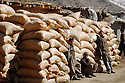 Iraq 2008.Bags of wheat smuggled from Iran to Irak<br />