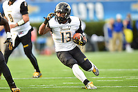 Newark, DE - OCT 29, 2016: Towson Tigers Shane Simpson (13) runs the ball lead by Towson Tigers fullback Dreon Johnson (48) during game between Towson and Delaware at Delaware Stadium Tubby Raymond Field in Newark, DE. (Photo by Phil Peters/Media Images International)