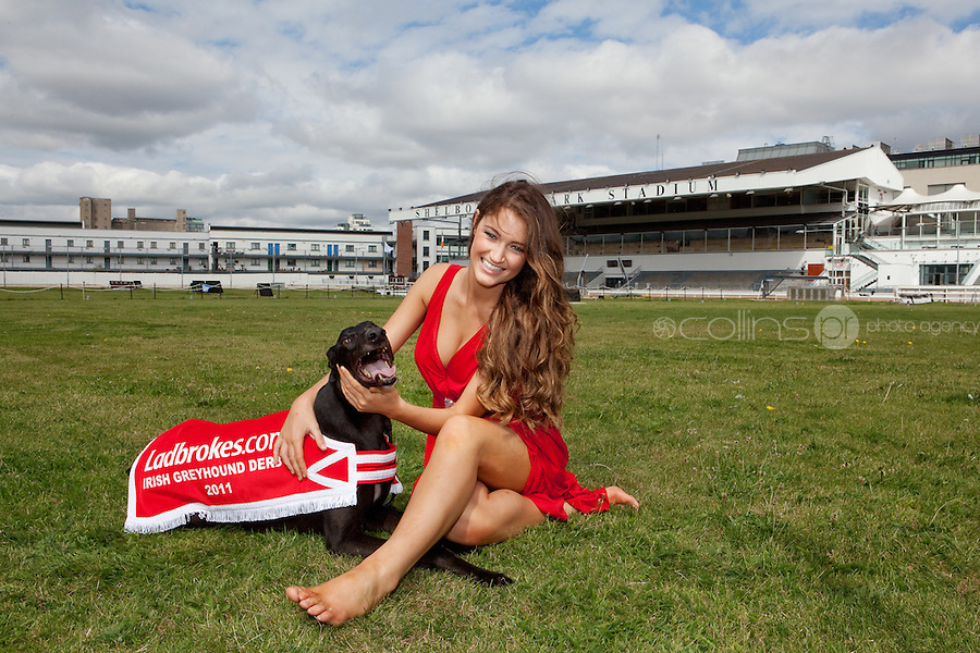 NO REPRO FEE. 2/8/2011. Pictured today was new Miss Universe Ireland, Aoife Hannon, and champion greyhound Feetonfire in Shelbourne Park, Dublin who were on hand for the first trap draw to launch the richest greyhound race in the world, The Ladbrokes.com Irish Greyhound Derby. TheLadbrokes.com Irish Greyhound Derby offers a massive prize fund of EUR225,000, and is run over a distance of 550yds and takes place in Shelbourne Park on Saturday 10th September with qualifying rounds beginning on 3rd August 2011.  The Trap Draw takes place to determine the race and trap for each greyhound entered in to the eagerly anticipated Derby, and with 150 dogs due to take part this years competition is gearing up to be one of the most exciting in the history of the sport. Picture James Horan/Collins