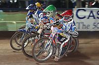 Heat 11: Dave Watt (red), Scott Nicholls (green), Freddie Eriksson (blue) and Leigh Lanham (yellow) - Poole Pirates vs Lakeside Hammers, Elite League Grand Final 2nd leg at Wimborne Road, Poole - 13/10/08 - MANDATORY CREDIT: Rob Newell/TGSPHOTO