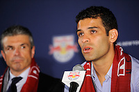 New York Red Bulls new signing Rafael Marquez addresses the media as sporting director/GM Erik Soler listens during a New York Red Bulls press conference at Red Bull Arena in Harrison, NJ, on August 03, 2010.