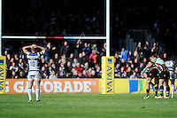 George Ford of Bath Rugby is dejected after missing a drop goal attempt which would have drawn the match during the Aviva Premiership match between Harlequins and Bath Rugby at The Twickenham Stoop on Saturday 10th May 2014 (Photo by Rob Munro)