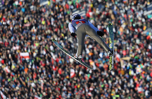 01.01.2017, Olympic Hill, Garmisch Partenkirchen, Germany. 4 Hills ski jumping tournament. Polish ski jumper Maciej Kot during a trial run at the Four Hills Tournament in Nordic skiing/ski jumping in Garmisch-Partenkirchen, Germany, 1st January 2017.