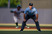Umpire Mark Stewart during a game between the Daytona Tortugas and the Tampa Tarpons on April 18, 2018 at George M. Steinbrenner Field in Tampa, Florida.  Tampa defeated Daytona 12-0.  (Mike Janes/Four Seam Images)