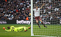 Burnley's Chris Wood scores his side's third goal <br /> <br /> Photographer Rob Newell/CameraSport<br /> <br /> The Premier League - West Ham United v Burnley - Saturday 10th March 2018 - London Stadium - London<br /> <br /> World Copyright &not;&copy; 2018 CameraSport. All rights reserved. 43 Linden Ave. Countesthorpe. Leicester. England. LE8 5PG - Tel: +44 (0) 116 277 4147 - admin@camerasport.com - www.camerasport.com