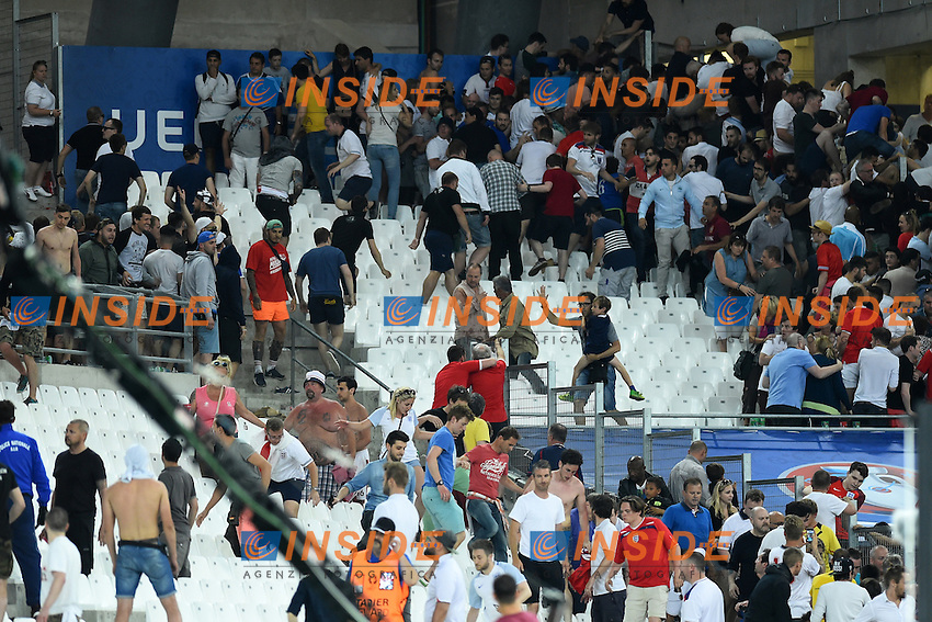 Clashes between Russian and England supporters on the stands at the end of the match <br /> Incidenti sugli spalti <br /> Marseille 11-06-2016 Stade Velodrome football Euro2016 England - Russia  / Inghilterra - Russia Group Stage Group B. Foto Massimo Insabato / Insidefoto