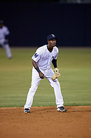Tampa Yankees shortstop Jorge Mateo (14) during a game against the Lakeland Flying Tigers on April 7, 2017 at George M. Steinbrenner Field in Tampa, Florida.  Lakeland defeated Tampa 5-0.  (Mike Janes/Four Seam Images)
