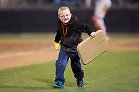 A young fan competes in a between innings contest during the South Atlantic League game between the Lakewood BlueClaws and the Kannapolis Intimidators at Kannapolis Intimidators Stadium on April 6, 2017 in Kannapolis, North Carolina.  The BlueClaws defeated the Intimidators 7-5.  (Brian Westerholt/Four Seam Images)