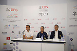 Left-right: Bjoern Waespe, UBS Global Head of Sponsorship, Caleb Chan, Friends of Asia Hong Kong Founder, Kenneth Lam, Captain of Hong Kong Golf club, give a press conference on the sidelines of UBS Hong Kong Open golf tournament at the Fanling golf course on 25 October 2015 in Hong Kong, China. Photo by Aitor Alcalde / Power Sport Images