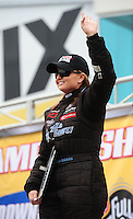 Sept. 16, 2011; Concord, NC, USA: NHRA pro stock  driver Erica Enders during qualifying for the O'Reilly Auto Parts Nationals at zMax Dragway. Mandatory Credit: Mark J. Rebilas-US PRESSWIRE