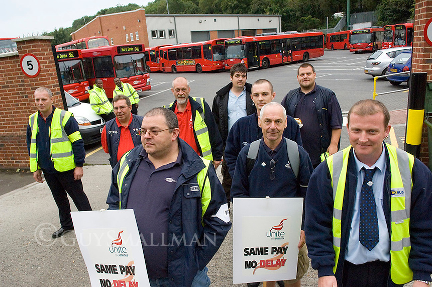 The scene at Orpington Bus garage as the drivers go on strike to demand equal pay. Only 5 out of 106 buses were operating.