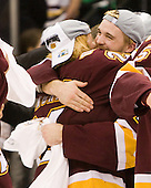 Wade Bergman (Duluth - 28), Jake Hendrickson (Duluth - 15) - The University of Minnesota-Duluth Bulldogs celebrated their 2011 D1 National Championship win on Saturday, April 9, 2011, at the Xcel Energy Center in St. Paul, Minnesota.