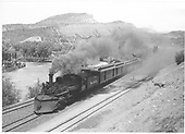 &quot;San Juan&quot; leaving Durango with RPO, baggage car and 3 coaches.<br /> D&amp;RGW  Durango, CO  5/25/1947