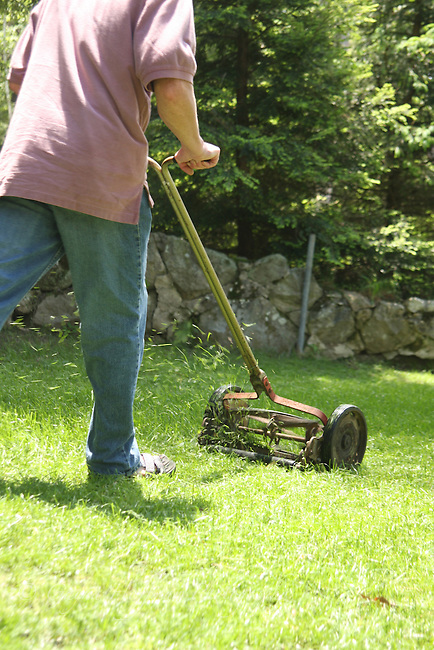 Man mowing lawn with push mower. Cut grass flying from blades.