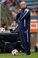 Puerto Rico Islanders headcoach Colin Clark observes his team in action. The Puerto Rico Islanders defeated the LA Galaxy 4-1 during CONCACAF Champions League group play at Home Depot Center stadium in Carson, California on Tuesday July 27, 2010.