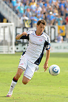 Marko Perovic (29) of the New England Revolution. The Philadelphia Union and the New England Revolution  played to a 1-1 tie during a Major League Soccer (MLS) match at PPL Park in Chester, PA, on July 31, 2010.
